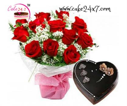 Chocolate Truffle Cake and  (10 Red Roses Bunch)
