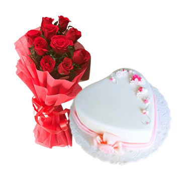 Heart shape cake with roses