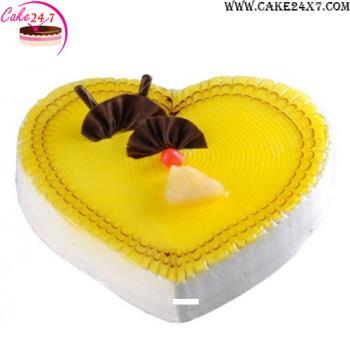 Heart shape Pineapple crush cake