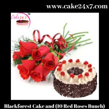 Blackforest Cake and (10 Red Roses Bunch)