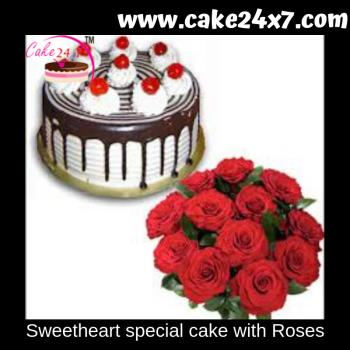 Sweetheart special cake with Roses