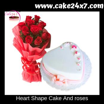 Heart Shape Cake And roses