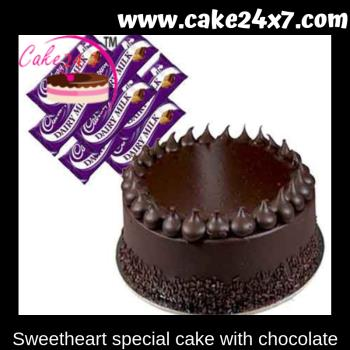 Sweetheart special cake with chocolate