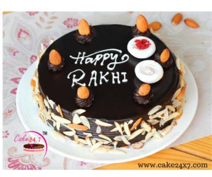 Chocolate Almond Rakhi Cake Delivery In Vaishali Ghaziabad