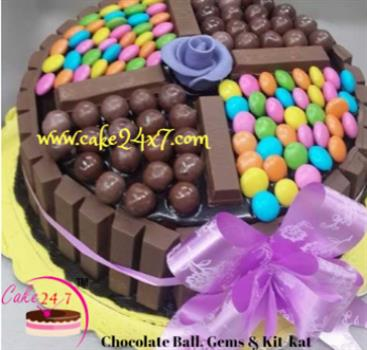 Chocolate Ball, Gems & Kit Kat Cake