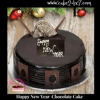 Happy New Year Chocolaty Cake Delivery In Vaishali Ghaziabad