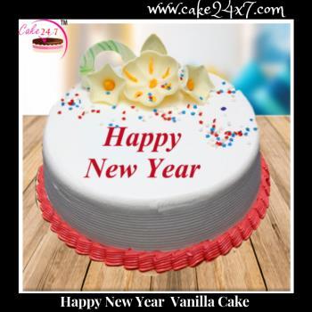 New Year Vanilla Cake Delivery In Mahagun Metro Mall Vaishali Ghaziabad