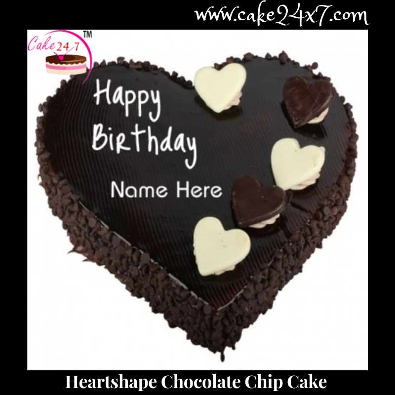 Swell Heart Shape Chocolate Chip Cake Funny Birthday Cards Online Fluifree Goldxyz