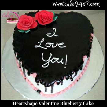 Heart shape Valentine Blueberry Cake
