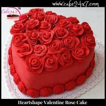 Heart shape Valentine Rose Cake
