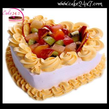 Heart Shape Fruit Love Cake