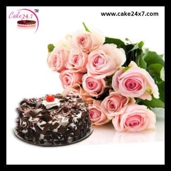 Black Forest Flax Cake With 10 Pink Roses
