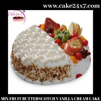 MIX FRUIT BUTTERSCOTCH VANILLA CREAM CAKE