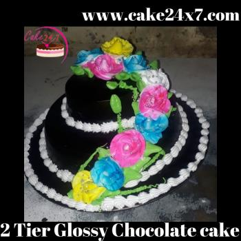 2 Tier Glossy Chocolate cake