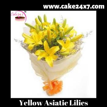 Bouquet of 8 Yellow Asiatic Lilies