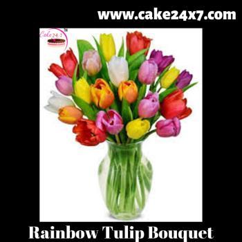 20 Rainbow Tulip Bouquet
