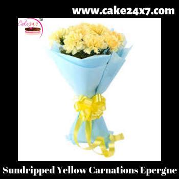 Sundripped Yellow Carnations Epergne
