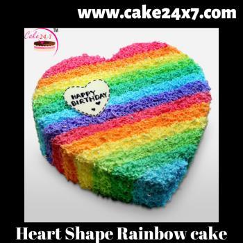 Heart Shape Rainbow cake