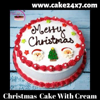 Christmas  Cake With Cream