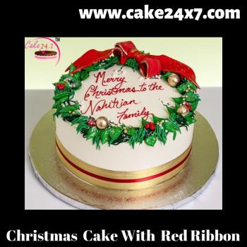 Fantastic Christmas Cake With Red Ribbon Funny Birthday Cards Online Inifofree Goldxyz