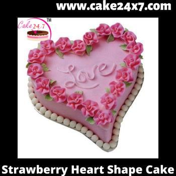 Strawberry Heart Shape Cake