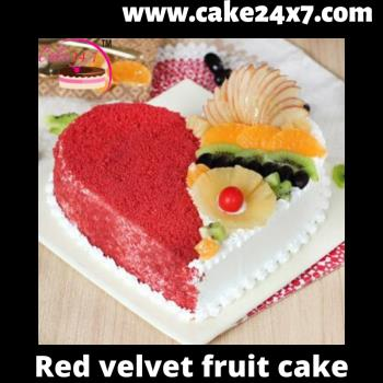 Red velvet fresh fruit cake