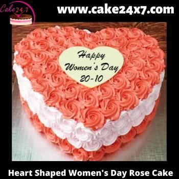 Heart Shaped Women's Day Rose Cake