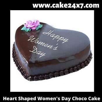 Heart Shaped Women's Day Choco Cake