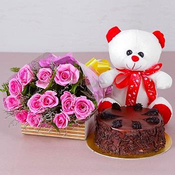 Choco Chips Cake,  Teddy Bear And  Pink Roses Bouquets