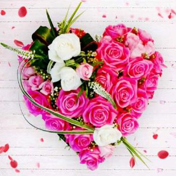 Heart Shape Arrangement of 30 Pink and White Rose