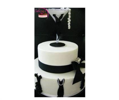Black & White Fondent Little Black Dress