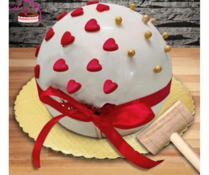 White Chocolate  Round Shape Pinata Hammer Cake