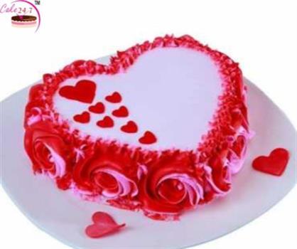 Rosey Red Velvet Heart Shape Cake